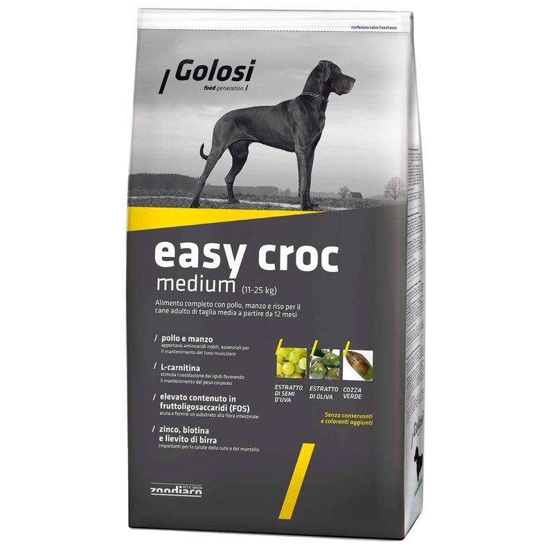 Golosi Dog Adult Easy Croc сухой корм для собак средних пород с курицей, говядиной и рисом 3 кг (12 кг)