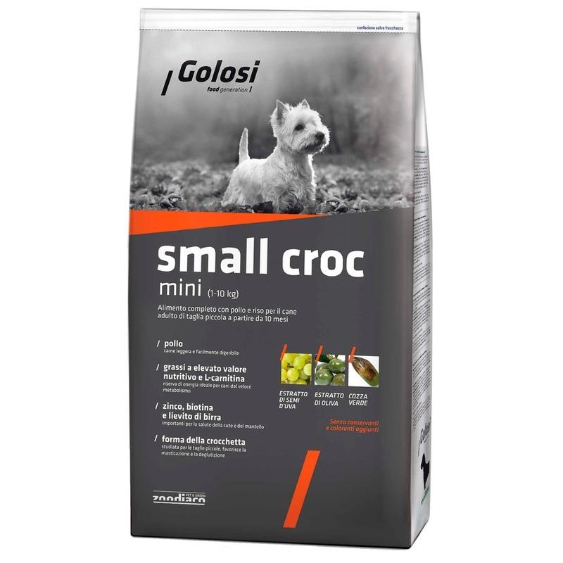 Golosi Dog Adult Small Croc сухой корм для собак мелких и миниатюных пород с курицей и рисом 2 кг (12 кг)