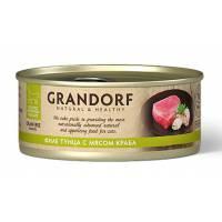 Grandorf Tuna With Crab In Broth влажный корм для кошек, филе тунца с мясом краба - 70 г х 6 шт