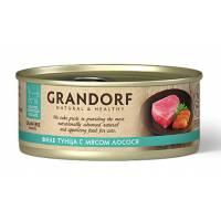 Grandorf Tuna With Salmon In Broth влажный корм для кошек, филе тунца с мясом лосося - 70 г х 6 шт