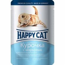Happy Cat кусочки в соусе курочка с морковью паучи для котят - 100 г х 22 шт