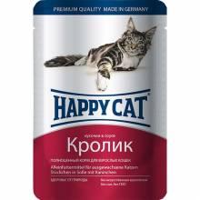 Happy Cat кусочки в соусе кролик паучи для взрослых кошек любых пород - 100 г х 22 шт