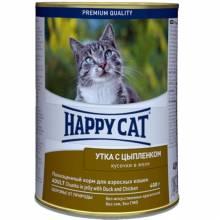 Консервы Happy Cat с уткой и цыпленком для взрослых кошек - 400 г х 24 шт