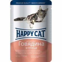 Happy Cat Говядина и Птица паучи для взрослых кошек любых пород - 100 г х 22 шт
