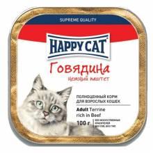 Happy Cat Говядина влажный корм с говядиной паштет для взрослых кошек - 100 г х 32 шт.