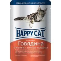 Happy Cat кусочки в желе говядина и печень с зеленым горошком паучи для взрослых кошек - 100 г х 22 шт
