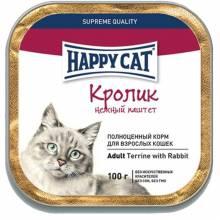 Happy Cat Кролик паштет влажный корм с кусочками для всех пород кошек - 100 г х 32 шт.