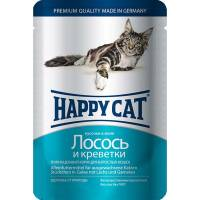 Happy Cat Лосось и Креветки паучи для взрослых кошек любых пород - 100 г х 22 шт
