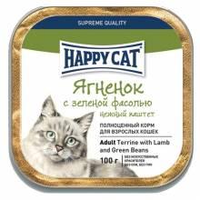 Happy Cat Ягненок с фасолью влажный корм с зеленой фасолью для взрослых - 100 г х 32 шт.
