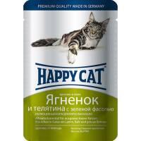 Happy Cat Ягнёнок и Телятина паучи для взрослых кошек - 100 г