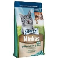 Happy Cat Minkas Mix сухой корм для взрослых кошек c птицей, ягненком и рыбой 1,5 кг (4 кг) (10 кг)