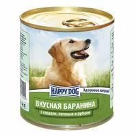 Влажный корм Happy Dog Вкусная Баранина с сердцем, печенью и рубцом для взрослых собак всех пород - 750 г х 12 шт