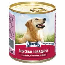 Влажный корм Happy Dog Вкусная Говядина с сердцем, печенью и рубцом для взрослых собак всех пород - 750 г х 12 шт