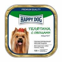 Влажный корм Happy Dog для собак мелких пород с телятиной и овощами - 100 г х 15 шт