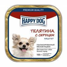 Влажный корм Happy Dog для собак мелких пород с телятиной и сердцем - 100 г х 15 шт