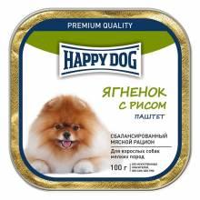 Влажный корм Happy Dog для собак мелких пород с ягнёнком и рисом - 100 г х 15 шт