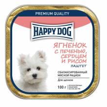 Влажный корм Happy Dog для собак мелких пород с ягнёнком, печенью, сердцем и рисом - 100 г х 15 шт