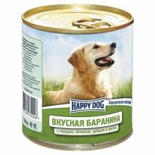 Влажный корм Happy Dog Вкусная Баранина с рисом, сердцем, печенью и рубцом для взрослых собак всех пород - 750 г х 12 шт