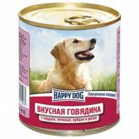 Влажный корм Happy Dog Вкусная Говядина с рисом, сердцем, печенью и рубцом для взрослых собак всех пород - 750 г х 12 шт