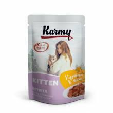 Karmy паучи для котят с курицей в желе до 1 года, беременных и кормящих кошек 80 гр.  (80 гр. х 24 шт.)