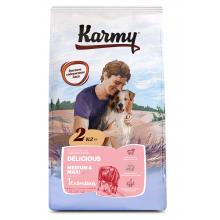 Karmy Delicious Medium&Maxi Сухой корм для привередливых собак средних и крупных старше 1 года, с телятиной 15 кг