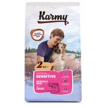 Karmy Sensetive Medium & Maxi сухой корм для взрослых собак средних и крупных пород с чувствительным пищеварением с лососем 2 кг (15 кг)