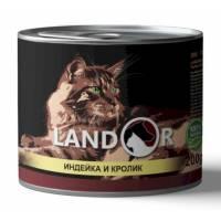 Landor влажный корм для кошек с индейкой и кроликом в консервах - 200 г х 6 шт.
