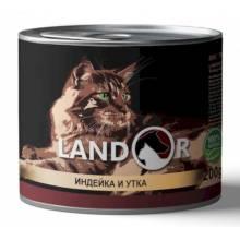 Landor влажный корм для кошек с индейкой и уткой в консервах - 200 г х 6 шт.