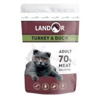 Landor влажный корм для кошек с индейкой и уткой в паучах - 85 г х 12 шт.