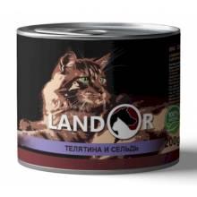 Landor влажный корм для кошек с телятиной и сельдью в консервах - 200 г х 6 шт.
