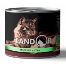 Landor влажный корм для котят с индейкой и уткой в консервах - 200 г х 6 шт.