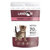 Landor влажный корм для котят с индейкой и уткой в паучах - 85 г х 12 шт.