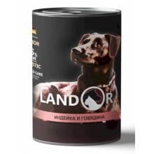 Landor влажный корм для щенков всех пород с индейкой и говядиной в консервах - 400 г х 6 шт.