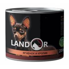 Landor влажный корм для собак мелких пород с ягненком и кроликом в консервах - 200 г х 6 шт.