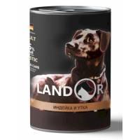 Landor влажный корм для собак всех пород с индейкой и уткой в консервах - 400 г х 6 шт.