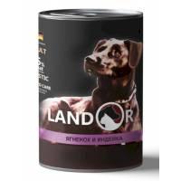 Landor влажный корм для собак всех пород с индейкой в консервах - 400 г х 6 шт.