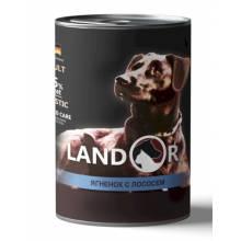 Landor влажный корм для собак всех пород с ягненком и лососем в консервах - 400 г х 6 шт.