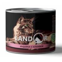 Landor влажный корм для стерилизованных кошек с индейкой и клюквой в консервах - 200 г х 6 шт.