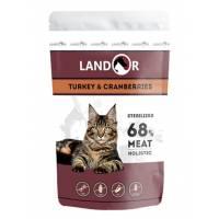 Landor влажный корм для стерилизованных кошек с индейкой и клюквой в паучах - 85 г х 12 шт.