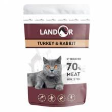 Landor влажный корм для стерилизованных кошек с индейкой и кроликом в паучах - 85 г х 12 шт.
