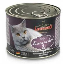 Leonardo консервированный корм для кошек с кроликом 12 шт х 200 гр. (12 шт х 400 гр.)