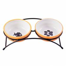 КерамикАрт миски на подставке для собак и кошек двойные, оранжевые 2x290 мл