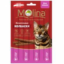 Molina Жевательные колбаски для кошек с курицей и уткой 20 г