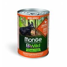 Monge BWild Grainfree Dog Adult Mini влажный беззерновой корм для взрослых собак мелких пород с уткой, тыквой и кабачками в консервах - 400 г х 24 шт
