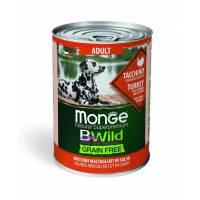 Monge BWild Grainfree Dog Adult влажный беззерновой корм для взрослых собак с индейкой, тыквой и кабачками в консервах - 400 г х 24 шт