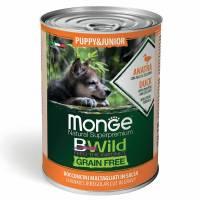Monge BWild Grainfree Dog Puppy влажный беззерновой корм для щенков пород с уткой, тыквой и кабачками в консервах - 400 г х 24 шт