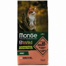 Monge Cat BWild Grain Free сухой беззерновой корм для взрослых кошек из лосося и гороха - 1,5 кг
