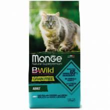 Monge Cat BWild Grain Free сухой беззерновой корм для взрослых кошек из трески, картофеля и чечевицы - 1,5 кг