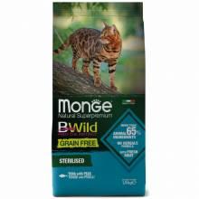 Monge Cat BWild Grain Free сухой беззерновой корм для взрослых кошек из тунца и гороха - 1,5 кг