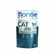Влажный корм Monge Cat Grill для стерилизованных кошек с итальянской форелью - 85 г х 28 шт